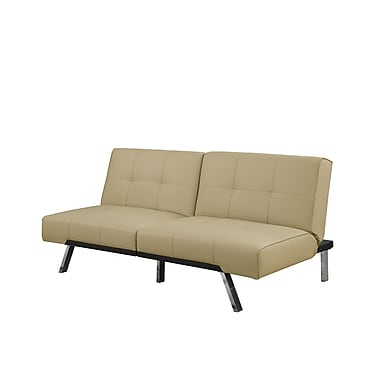 Monarch Shannon Series Futon, Split Back Click Clack, Taupe Leather-look