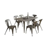 Monarch Specialties Bamboo Top Dining Table in a Distressed Brown ( I 1080 )