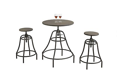 Monarch Specialties Distressed Brown and Bronze Dining Set 3pcs ( I 1085 )