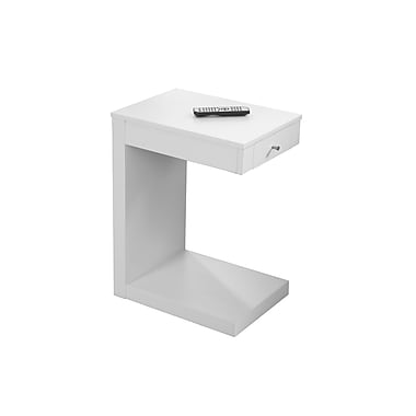 Monarch Accent Table, White with A Drawer