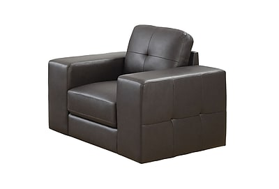 Monarch Specialties Dark Brown Bonded Leather Chair ( I 8221BR )