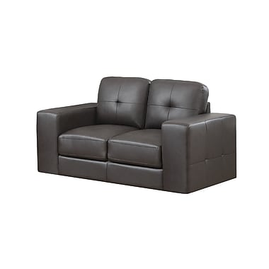 Monarch Bonded Leather Love Seat, Dark Brown