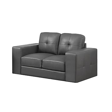 Monarch Bonded Leather Love Seat, Charcoal Grey