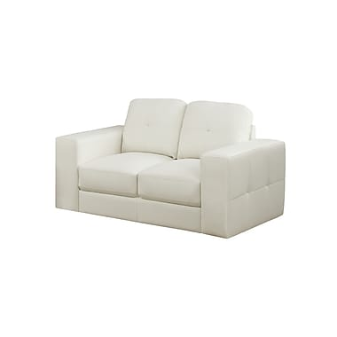 Monarch Bonded Leather Love Seat, Ivory