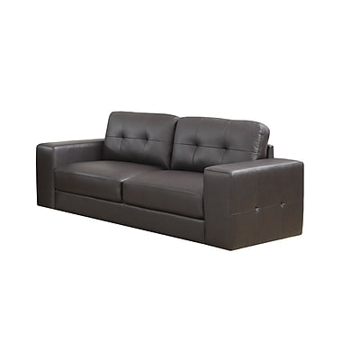 Monarch Bonded Leather Sofa, Dark Brown