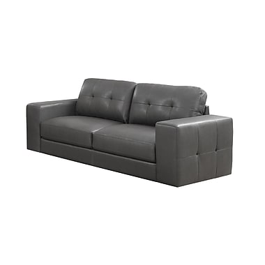 Monarch Bonded Leather Sofa, Charcoal Grey
