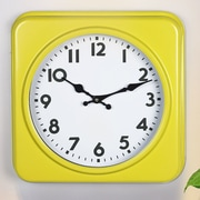 AdecoTrading Square Traditional Vintage Dial Retro Wall Hanging Clock; Yellow  / White