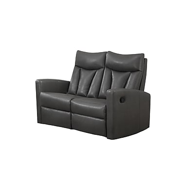 Monarch Reclining Jonathan Series, Charcoal Grey Bonded Leather Love Seat