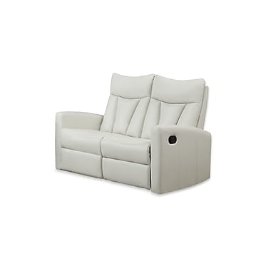 Monarch Reclining Jonathan Series, Ivory Bonded Leather Love Seat