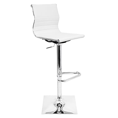 LumiSource Master 46'' Modern Adjustable Height Leather Bar Stool, White (BS-TW-MASTER W)