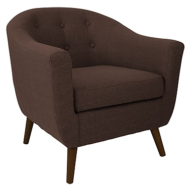 Lumisource Rockwell Mid Century Accent Chair in Espresso Woven Fabric (CHR-AH-RKWL ESP)