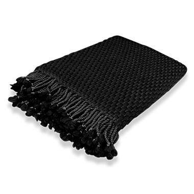 Peach Couture Basketweave 100pct Cashmere Throw w/ Tassels; Black