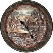 American Expedition 15'' Cabin Scene Rusty Metal Clock