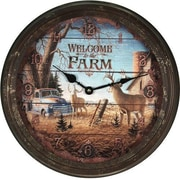 American Expedition 15'' Welcome Deer Rusty Metal Clock