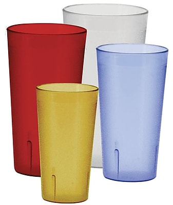 Winco Pebbled 8 oz. Plastic Every Day Glass (Set of 12); Red WYF078278072720