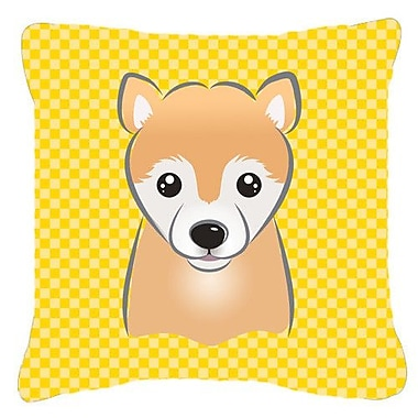 Caroline's Treasures Checkered Shiba Inu Indoor/Outdoor Throw Pillow; 14'' H x 14'' W x 4'' D