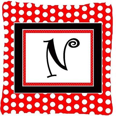 Caroline's Treasures Monogram Initial Red Black Polka Dots Indoor/Outdoor Throw Pillow; N
