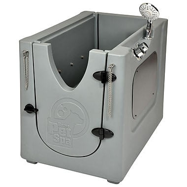 Home Pet Spa 24.7'' x 35'' x 29.25'' Pet Wash Shower Enclosure w/ Removable Shelf and Wheels
