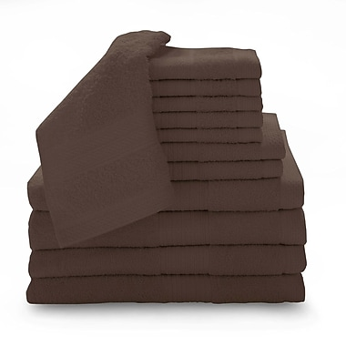 Luxury Home Super Plush Egyptian Quality Cotton 12 Piece Towel Set; Espresso