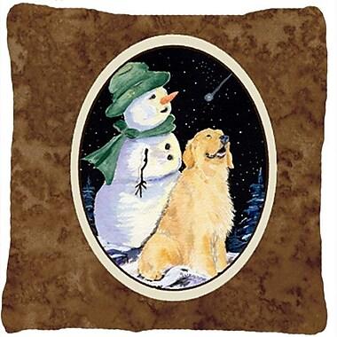 Caroline's Treasures Golden Retriever w/ Snowman in Green Hat Indoor/Outdoor Throw Pillow