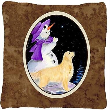 Caroline's Treasures Snowman w/ Golden Retriever Indoor/Outdoor Throw Pillow