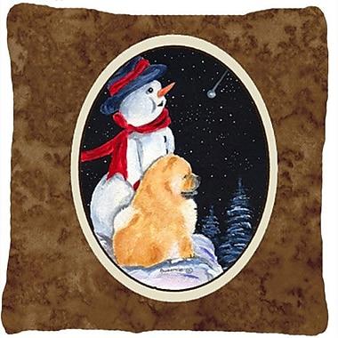 Caroline's Treasures Snowman w/ Chow Chow Indoor/Outdoor Throw Pillow