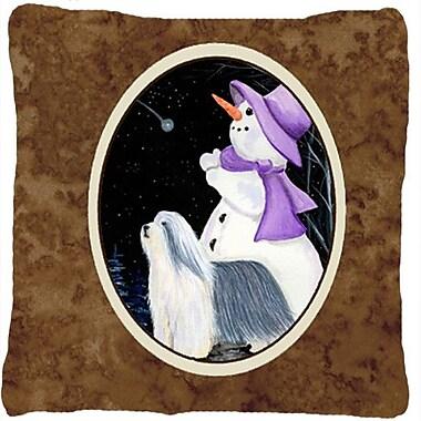 Caroline's Treasures Snowman w/ Bearded Collie Indoor/Outdoor Throw Pillow