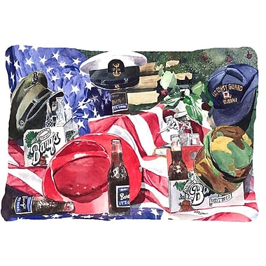 Caroline's Treasures Barq's and Armed Forces Indoor/Outdoor Throw Pillow
