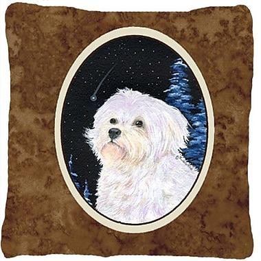 Caroline's Treasures Starry Night Maltese Indoor/Outdoor Throw Pillow