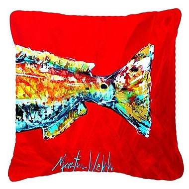 Caroline's Treasures Red Fish Alphonzo Tail Indoor/Outdoor Throw Pillow; 14'' H x 14'' W x 4'' D