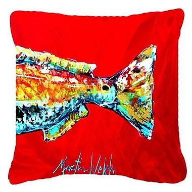 Caroline's Treasures Red Fish Alphonzo Tail Indoor/Outdoor Throw Pillow; 18'' H x 18'' W x 5.5'' D