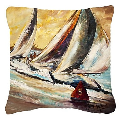 Caroline's Treasures Boat Race Sailboats Indoor/Outdoor Throw Pillow; 18'' H x 18'' W x 5.5'' D