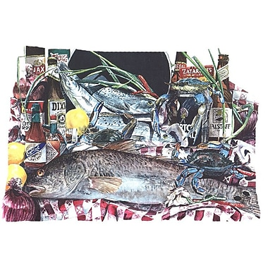 Caroline's Treasures Fish and Beers from New Orleans Indoor/Outdoor Throw Pillow