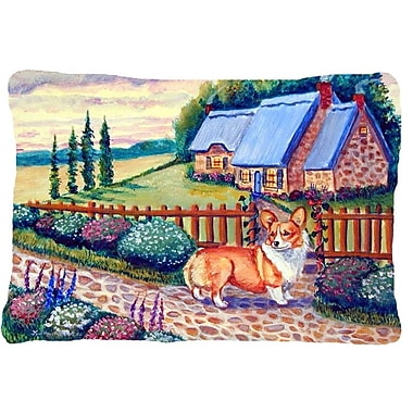 Caroline's Treasures Pembroke Corgi at The Cottage Indoor/Outdoor Throw Pillow