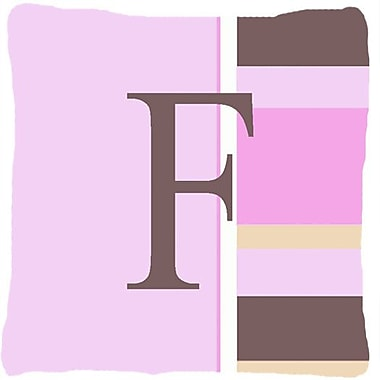 Caroline's Treasures Monogram Initial Pink Stripes Indoor/Outdoor Throw Pillow; F