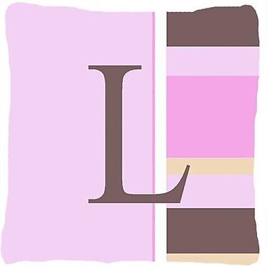 Caroline's Treasures Monogram Initial Pink Stripes Indoor/Outdoor Throw Pillow; L