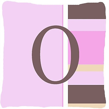Caroline's Treasures Monogram Initial Pink Stripes Indoor/Outdoor Throw Pillow; O
