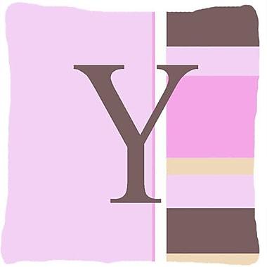 Caroline's Treasures Monogram Initial Pink Stripes Indoor/Outdoor Throw Pillow; Y
