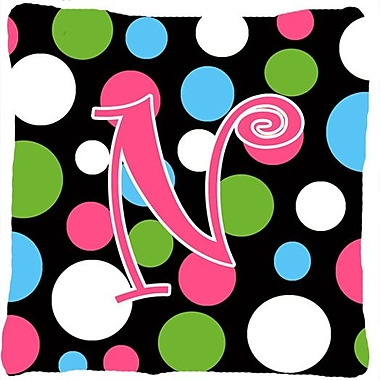 Caroline's Treasures Monogram Initial Polkadots Indoor/Outdoor Throw Pillow; N
