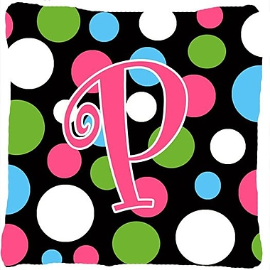 Caroline's Treasures Monogram Initial Polkadots Indoor/Outdoor Throw Pillow; P