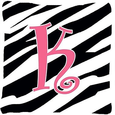 Caroline's Treasures Monogram Initial Zebra Stripe Indoor/Outdoor Throw Pillow; K