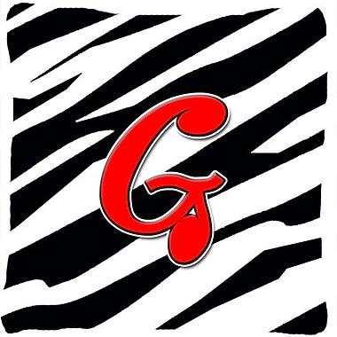 Caroline's Treasures Monogram Initial Zebra Indoor/Outdoor Throw Pillow; G
