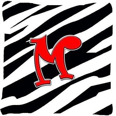 Caroline's Treasures Monogram Initial Zebra Indoor/Outdoor Throw Pillow; M