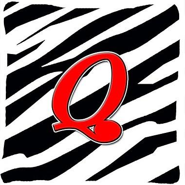 Caroline's Treasures Monogram Initial Zebra Indoor/Outdoor Throw Pillow; Q