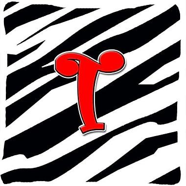 Caroline's Treasures Monogram Initial Zebra Indoor/Outdoor Throw Pillow; T