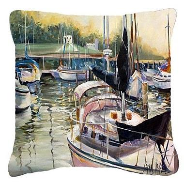 Caroline's Treasures Black Sails Sailboats Indoor/Outdoor Throw Pillow; 14'' H x 14'' W x 4'' D