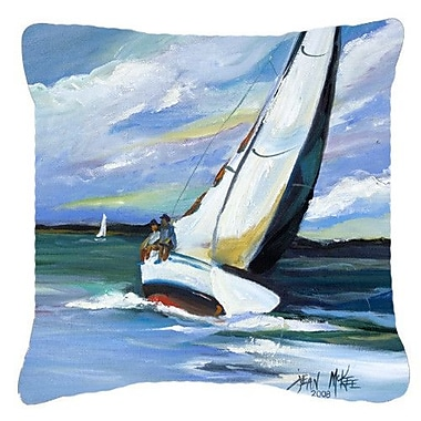 Caroline's Treasures Two and A Sailboat Indoor/Outdoor Throw Pillow; 14'' H x 14'' W x 4'' D