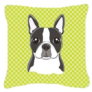 Caroline's Treasures Checkered Boston Terrier Indoor/Outdoor Throw Pillow; 14'' H x 14'' W x 4'' D