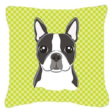 Caroline's Treasures Checkered Boston Terrier Indoor/Outdoor Throw Pillow; 18'' H x 18'' W x 5.5'' D