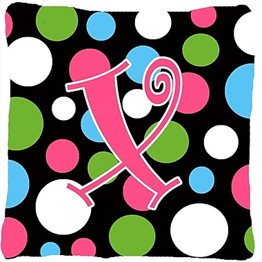 Caroline's Treasures Monogram Initial Polkadots Indoor/Outdoor Throw Pillow; X